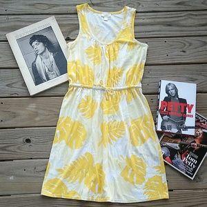 LOFT Yellow Floral Tank Dress